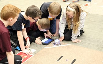 5 students with sphero